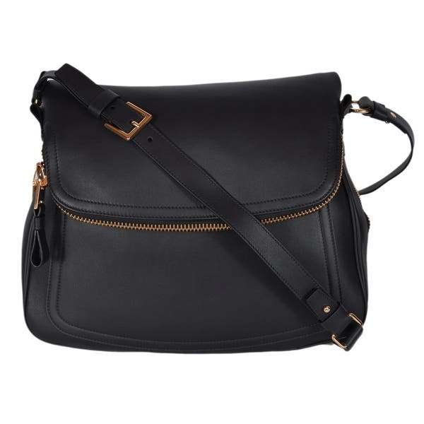 d9f2987aa9c3a Shop Tom Ford Black Leather Large JENNIFER Crossbody Saddle Bag ...