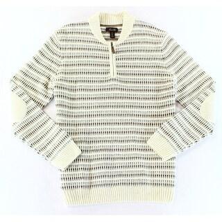 Tasso Elba NEW Beige Mens Size XL Elbow-Patch Textured 1/2 Zip Sweater
