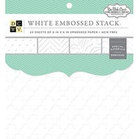 "Dcwv Single-Sided Cardstock Stack 6""X6"" 24/Pkg-Embossed White Solid, 8 Designs/3 Each"