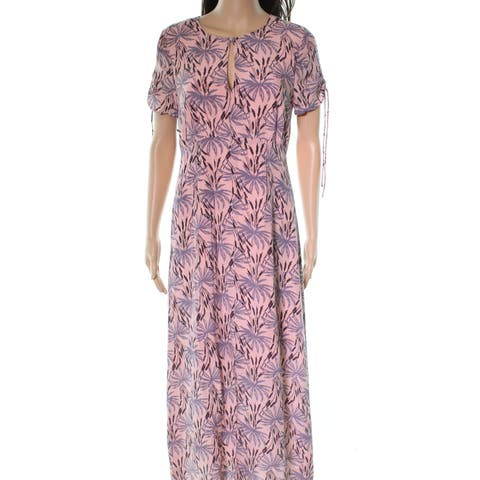 0c410feea3b Madewell Pink Cattails Printed Women s Size 2 Silk Maxi Dress