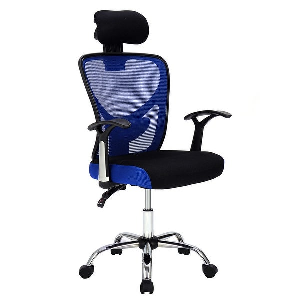 Office chair picture Luxury Shop Costway Ergonomic Mesh High Back Office Chair Headrest Blue Free Shipping Today Overstockcom 17950534 Ergocentric Shop Costway Ergonomic Mesh High Back Office Chair Headrest Blue