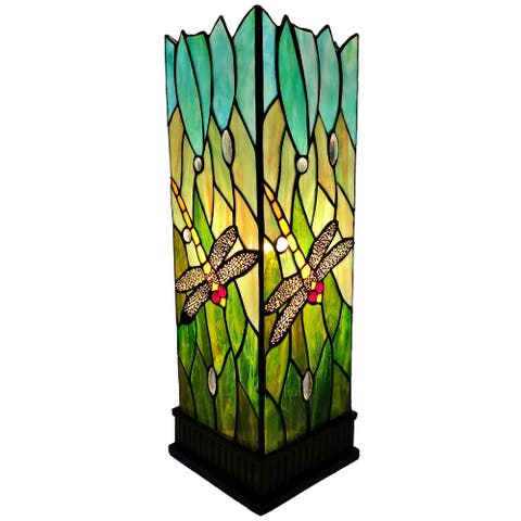 Tiffany Style Table Lamp Dragonfly Stained Glass Piano Decor Nightstand Handmade Gift AM024TL05B Amora Lighting