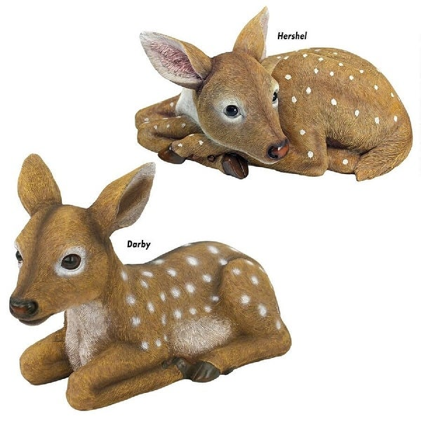 "Set of 2 Baby Deer Hand Painted Outdoor Forest Statues 14.5"" and 13"" - N/A"
