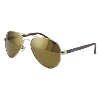 Perry Ellis Mens Metal Aviator Sunglasses Gold-PE08, Includes Perry Ellis Pouch, 100% UV Protection - Gold