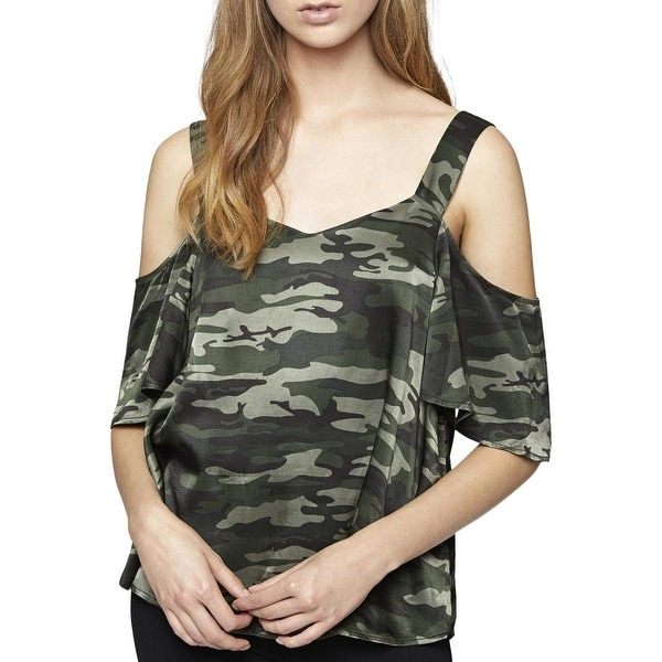 ae3ba846f8435 Shop Sanctuary Green Women s Size XL Camo-Print Cold-Shoulder Blouse - On  Sale - Free Shipping On Orders Over  45 - Overstock - 26903178