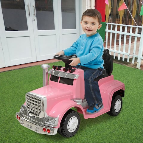 "Kids Child Ride on Car 4 wheels Electric Car Outdoor Toy - Pink - 7'6"" x 9'6"""