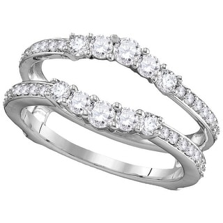 14kt White Gold Womens Round Natural Diamond Ring Guard Wrap Solitaire Enhancer 3/4 Cttw