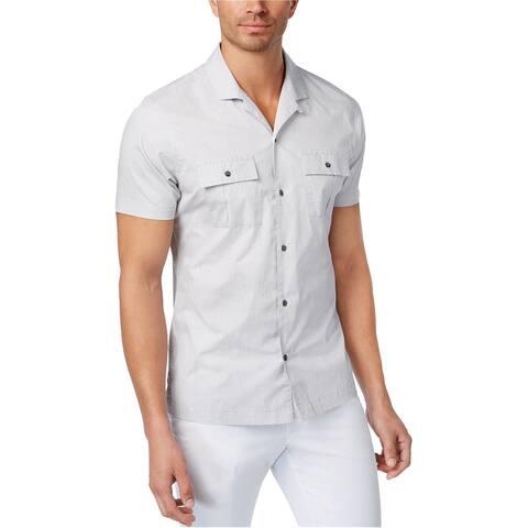 I-N-C Mens Camp-Collar Dot Button Up Shirt, Grey, Medium