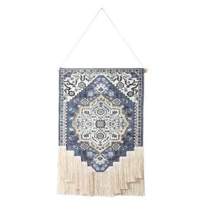 Boho Floral Woven Wall Hanging with Macrame Fringe
