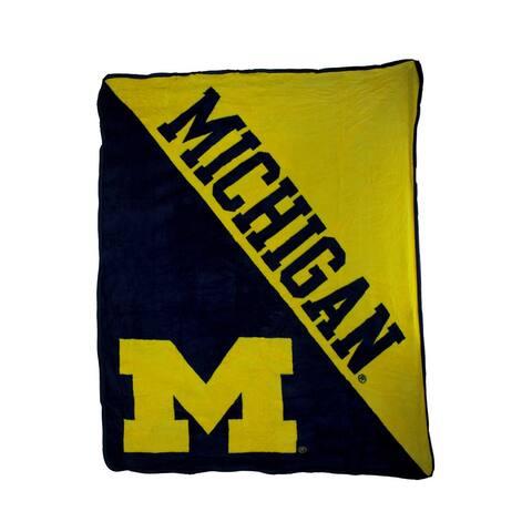NCAA University of Michigan Micro Raschel Plush Throw Blanket - 0.25 X 60 X 46 inches