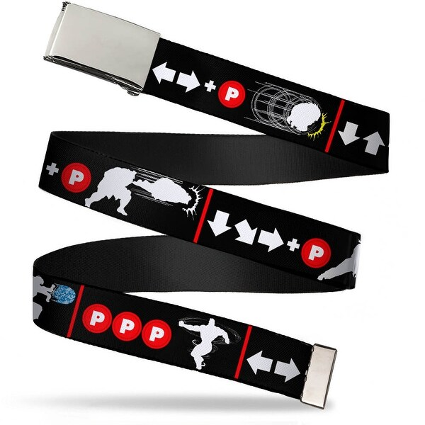 Blank Chrome Buckle Street Fighter Ii Power Move Silhouettes Black Web Belt