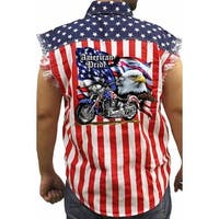 Men's Biker USA Flag Sleeveless Denim Shirt Motorcycle Bald Eagle Stars & Stripes