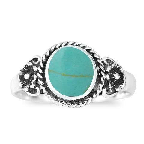 Handmade Daisy Floral Embrace Gemstone Sterling Silver Ring (Thailand)