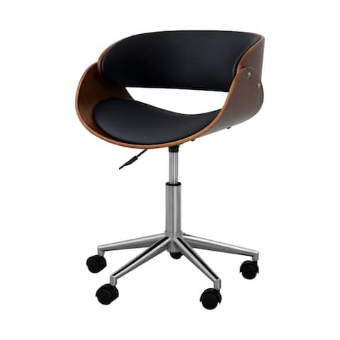 Versanora Faux Leather Curved Seat Adjustable Swivel Home Office Task Arm Chair