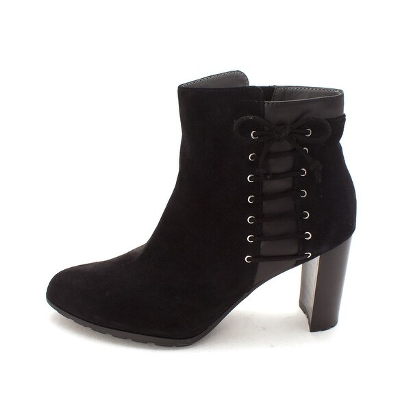 Adrienne Vittadini Womens trend Almond Toe Ankle Fashion Boots, Black, Size 9.5