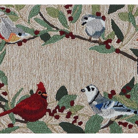 Liora Manne Frontporch Bird Border Indoor/Outdoor Rug Natural