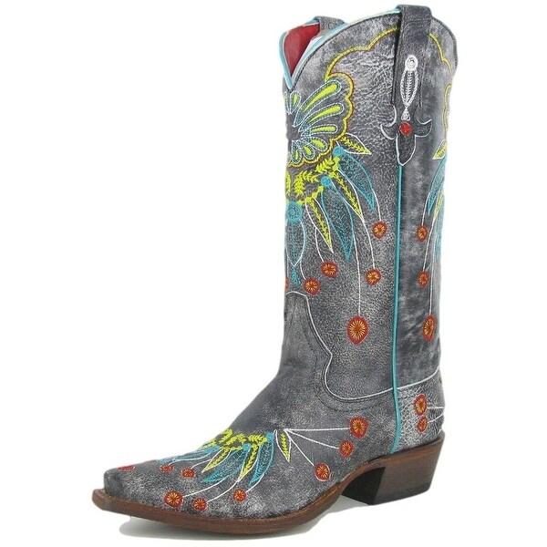 Macie Bean Western Boots Womens Cowboy Floral Vegas Bound Gray
