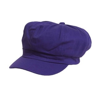 Cotton Elastic Newsboy Cap - Purple