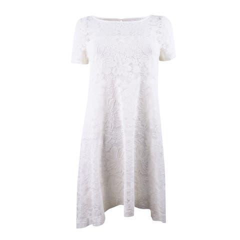 Robbie Bee Women's Plus Size Floral A-Line Dress (3X, Ivory) - Ivory - 3X