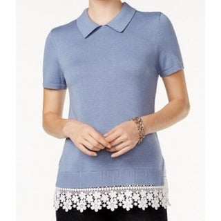 Tommy Hilfiger NEW Blue Chambray Small S Crochet Lace Collar Knit Top