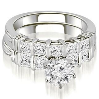 1.90 CT.TW Gold Bar Setting Princess Cut Diamond Bridal Set - White H-I (More options available)