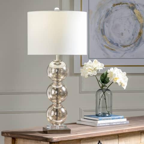 "Lonsdale Mercury 28.5"" Glass & Satin Nickel Drum Table Lamp - 28.5"" x 14"" x 14"""