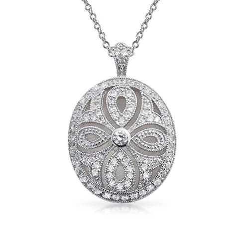 Vintage Style Oval Cross Locket Pendant Filigree Cubic Zirconia CZ Necklace for Women Rhodium Plated Brass 18in Chain