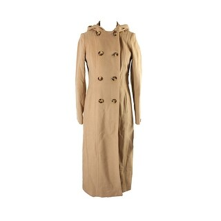 Anne Klein Camel Hooded Double-Breasted Maxi Coat - 8