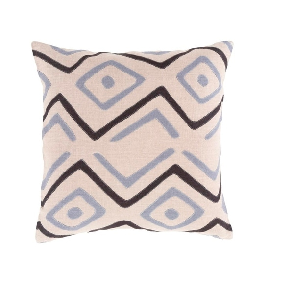 "22"" Tribal Rhythm Mist Gray and Licorice Black Woven Decorative Throw Pillow-Down Filler"