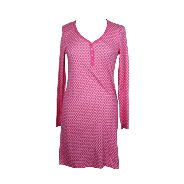 59e696e2d50 Shop Charter Club Pink Long-Sleeve Printed Henley Sleepshirt XS ...