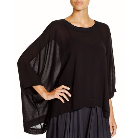 Pure DKNY Womens Pullover Top Ribbed Trim Oversized