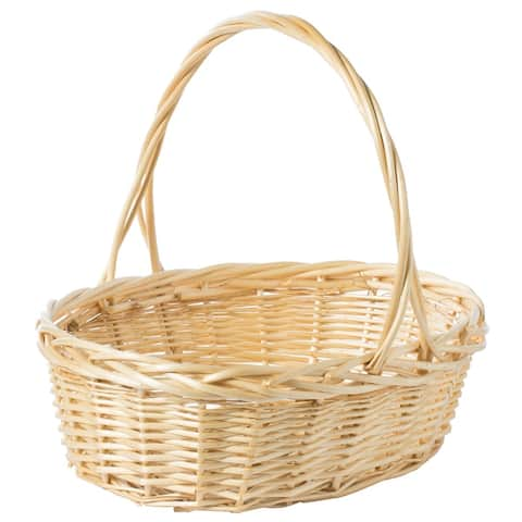 Natural Willow Oval Shaped Gift Basket Fruit Bowl Bread Serving Tray with Handle