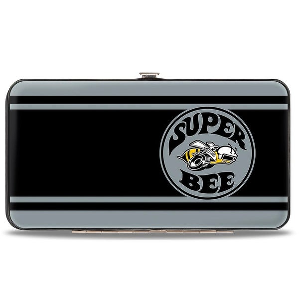 Super Bee Logo Stripes Black Gray Hinged Wallet - One Size Fits most