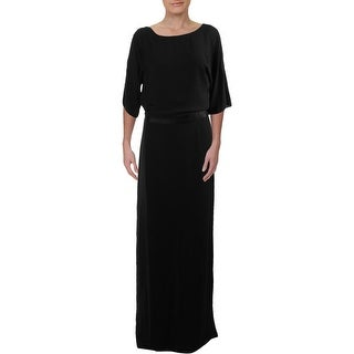 Link to Halston Heritage Womens Evening Dress Silk Trim Sleeveless - Black Similar Items in Dresses
