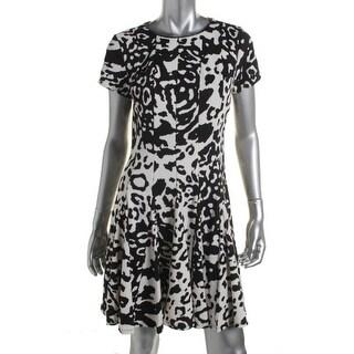 Eliza J Womens Wear to Work Dress Animal Print Short Sleeves - 12