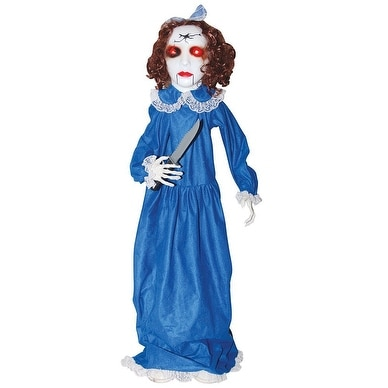 Animated Porch Squatter Zombie Girl Halloween Prop
