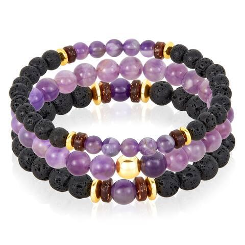Natural Stone with Hematite, Lava Beaded Stretch Bracelet Set of 3