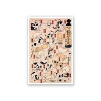 Cats suggested as the fifty-three stations of the Tokaido 3 - Utagawa Kuniyoshi Fine Art Collections Matte Poster 16x24