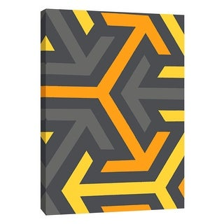 """PTM Images 9-105722  PTM Canvas Collection 10"""" x 8"""" - """"Monochrome Patterns 8 in Yellow"""" Giclee Abstract Art Print on Canvas"""