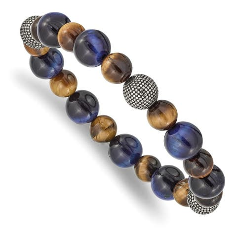 Chisel Stainless Steel Antiqued and Polished Brown and Blue Tiger's Eye Stretch Bracelet