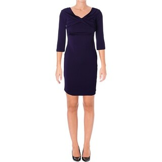 Lauren Ralph Lauren Womens Petites Cocktail Dress Cross Front 3/4 Sleeve
