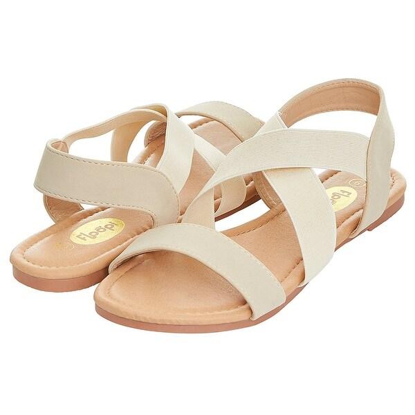 0bec4707d197 Floopi Womens Summer Criss Cross Slingback Elastic Strap Flat Sandal - 10