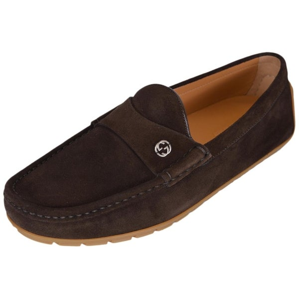 32f2b11781a Gucci Men  x27 s 386587 Brown Suede Interlocking GG Drivers Loafers Shoes  ...