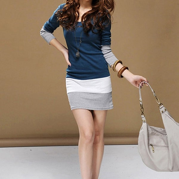 Autumn Winter Women Long Sleeve knit Bodycon Tops Slim Party Sweater Mini Dress