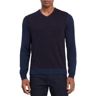 Calvin Klein Mens Big & Tall Pullover Sweater Geometric Pattern V Neck - 2Xl