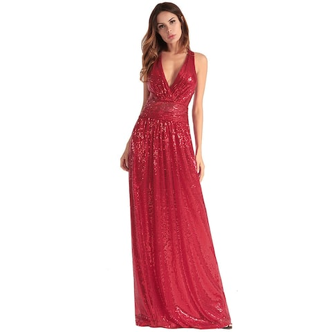 Upscale Sexy Cross Backless Sequins Evening Dress