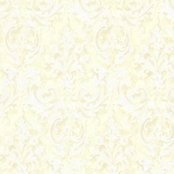 Brewster 2605 21611 Aurora Yellow Damask Wallpaper