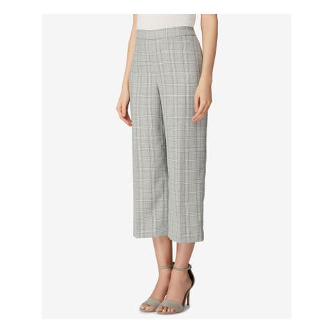 TAHARI Womens Gray Wide Leg Plaid Cropped Pants Size 14