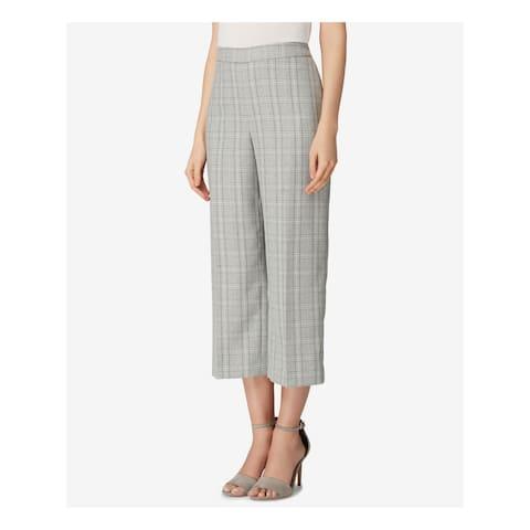 TAHARI Womens Gray Wide Leg Plaid Cropped Pants Size 16