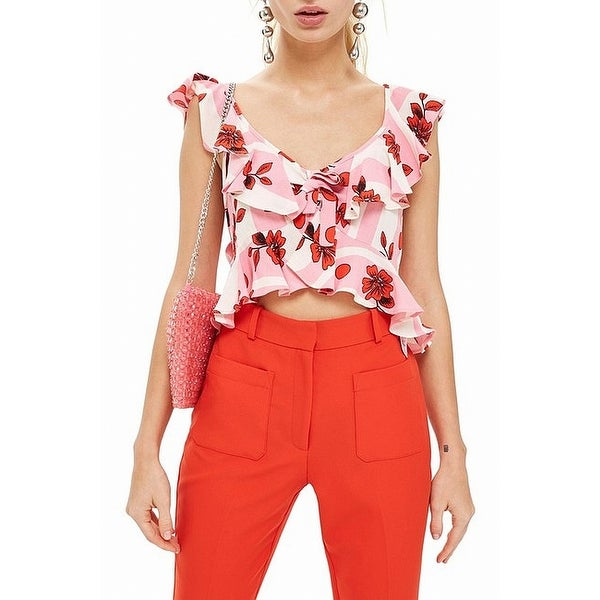TopShop Multi Womens US 6 Brigitte Floral Sun Crop Top